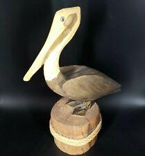 New ListingPelican Wooden Hand Carved Figurine Statue Ocean Bird Nautical Decor 10�