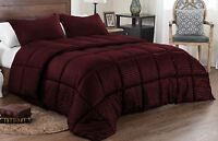 3pc King Set Box Stitching Down Alternative Reversible Solid/Stripe Comforter