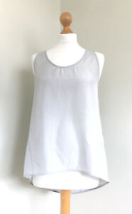 COS Fabulous Silver/dove Grey Silk Sleeveless Vest Top With Draped Back S/34