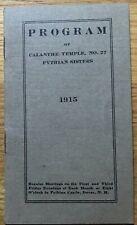 1915 Pythian Sisters Program ~ Calanthe Temple Dover NH ~ Membership / Calander