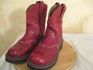Ariat Fatbaby Womens Boots 8 1/2 B Red Suede Leather Snakeskin Print Style 16460
