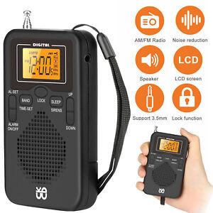 Mini Portable Radio Battery Powered Pocket Digital LCD AM FM  Receiver Speaker