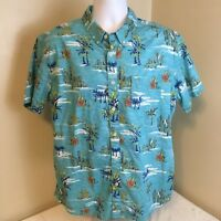 Urban Pipeline Shirt Short Sleeve XL Hawaiian Cactus Palms Blue 100% Cotton FS!