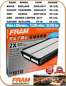FRAM CA10110 Engine Air Filter Fit V6 3.6L 09-17 TRAVERSE 07-16 ACADIA 08-17 EN