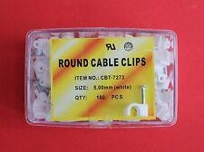 TELEFONO 5mm & ALARM CABLE CLIP (Pacco da 100) in bianco