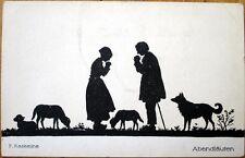 1910 Silhouette Postcard: Dog, Shepherd Praying w/Flock of Sheep