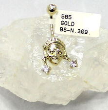 585 oro ombelico Piercing DAMA/donna con zirconia pietre pi-326 NUOVO