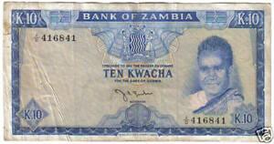 ZAMBIA 10 KWACHA 1969 SIGN 2 LOOK SCAN