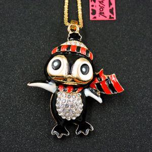 Black Enamel Rhinestone Cute Penguin Betsey Johnson Pendant Chain Necklace