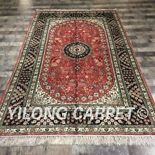 Yilong 5'x8' Handknotted Persian Silk Carpet Medallion Red Kashmir Rug ZW190C