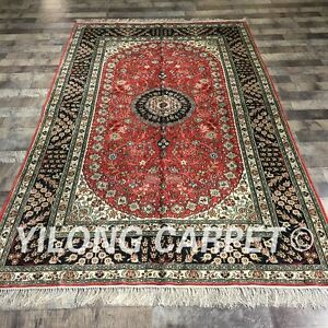 YILONG 5'x8' Handknotted Silk Carpet Medallion Red Home Indoor Rug ZW190C