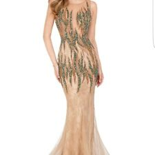 Terani couture pageant wedding evening gown/dress mocha green beaded 1612GL0511A