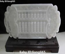"16"" Rare Chinese Natural White Jade Hand Carving Abacus Abaci Bi Screen Statue"