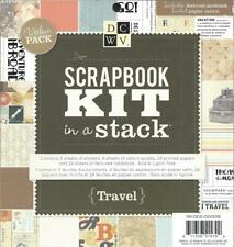 "Travel Scrapbook Kit in Stack 8""x`8"" DCWV Stickers Vellum Papers + New Value Pak"
