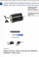 Advance Floor Scrubber Brush Motor OEM Part 56390072 Fits In SC750 / SC1500