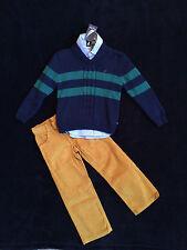 Nautica 3 Piece Outfit Sweater Dress Shirt & Cord Pants Set Boys Size 4 NEW