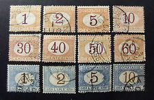 "ITALIA,ITALY REGNO 1870-74 Segnatasse "" Cifra in Ovale"" 12 Valori Cpl set USED"