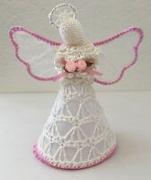Christmas Angel Ivory Pink White Ornament Crochet Roses Halo Wings Hang or Stand