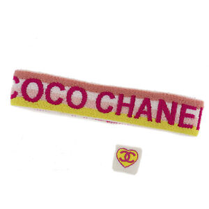 CHANEL CC COCO Logos Sports Line Hairband Ring Pink Yellow Cotton Auth #AC758 O