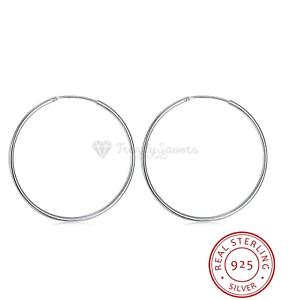 18ct White Gold On 925 Sterling Silver Rose Gold Sleeper Stud Ring Hoop Earrings