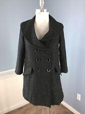 TULLE Anthropologie XS Black Tweed Shimmer Coat Jacket Peacoat EUC 3/4 sleeve