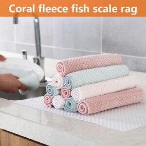Coral Fleece Microfiber Non-Stick Oil Kitchen Rag Dish Towel Household 2021 HOT