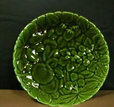 Exquisite Sarreguemines France Pottery Embossed Fruit Green Round Platter