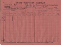 Great Northern Railway 1893 Goods Recd at Shipley From Burnley Receipt Ref 39542