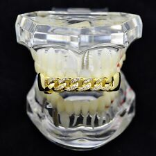 CZ Cuban Grillz 14k Gold Plated Iced-Out Upper Top Bling Hip Hop Teeth Grills