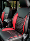 2013-2018 Jeep Wrangler Jk Custom Leather Seat Covers Black Red Diamond