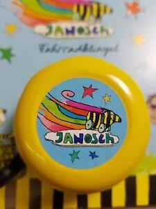 "♫♫ Bike Fashion Kinder Fahrradklingel / Glocke ""Janosch, die Tiger-Ente"", gelb♫♫"