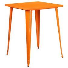 "32 x 32 Square Orange Tolix Cafe Outdoor Restaurant Metal 40"" Bar Bistro Table"