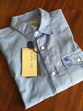 BURBERRY BRIT WALLER HYDRANGEA BLUE SMALL  SHIRT ( SMALL ) $ 225