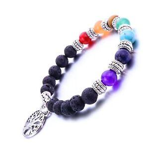 Anxiety Stress Relief Tree of Life Chakra Black Lava Gemstone Bead Bracelet