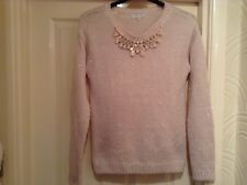 NEW LOOK PINK, GLITTERY LONG SLEEVE JUMPER SIZE 12 WITH A NECKLACE