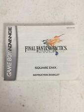 Final Fantasy Tactics Nintendo Game Boy Advance Instruction Manual Booklet ONLY