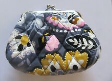 Vera Bradley Charmont Meadow Kiss Coin Purse- frame-quilted- floral-blue pink