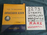 Ambassador Stamp 1960 Album 2273 Installed Worldwide Stamps Used & Unused 1001C
