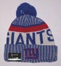 Nwt New York Giants ny Logo NFL Football Beanie Cap Hat Rolled Cuff Blue Wow Men