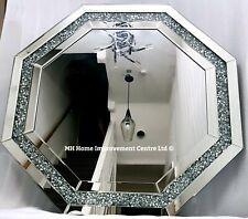 Diamond Crush Crystal Sparkly Silver Large Octagonal  Wall Mirror Diameter 80cm