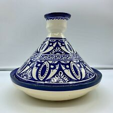 TANGINE MOROCCAN ? BLUE/WHITE POTTERY DECORATIVE SIGNED CERAMIC HAND PAINTED