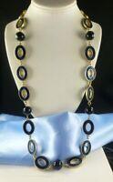 LIA SOPHIA Long Navy Blue Enamel Oval Link Necklace So Pretty!