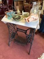 Vintage Singer Sewing Machine Treadle Accent Table w/ Marble Top