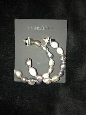 Baublebar Dafina Freshwater Pearl Iridescent Hoop Earrings Costume Jewellery