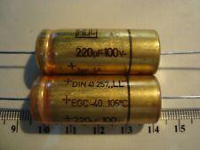 2 Elko, Kondensator, ROE, Roederstein, 220uF, 100V, EGC, LL, axial, Audio, NOS