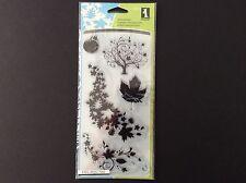 Inkadinkado Fall Season Clear Stamps, Autumn, Tree, Leaves 5 pcs
