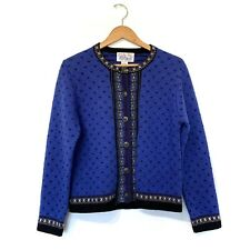 Vintage Wool Button Up Sweater Sz S Nordic Cardigan Tally Ho Icelandic Blue