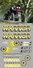 Warrior yamaha Decals YELLOW Airbrush Style Stickers Graphics 14pc ATV QUAD