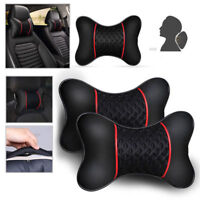 Black 2Pcs PU leather Car Pillows Headrest Neck Cushion Support Seat Accessories