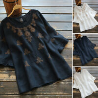 Women Long Sleeve Cotton Embroidery Shirt Casual Loose Baggy Top Blouse Pullover